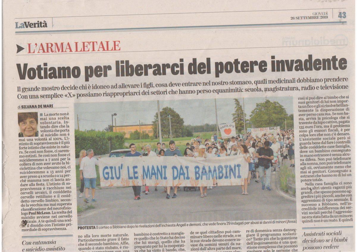 """Notizia  sostenibile  dal  quotidiano  La Verità""""  numero del 26 settembre 2019 pag. 43 L'arma letale a cura di Silvana De Mari"""