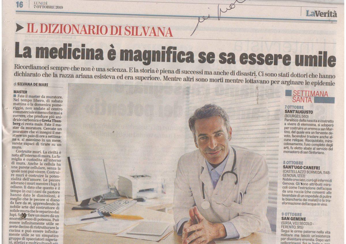 Informazione sostenibile dal  quotidiano La Verita' del 7 ottobre 2019 pag. 16
